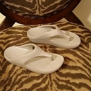 Crocs Brand, Light Silver Flip Flops,  Size 7